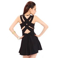 Bqueen Crisscross Back Black Dress TD008H - Designer Shoes|Bqueenshoes.com