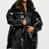 Missguided - Londunn + Missguided Black Vinyl Padded Jacket