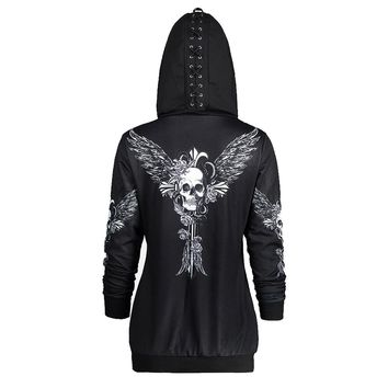 Skull Wings Print Zip Up Hoodie Long Sleeve Womens