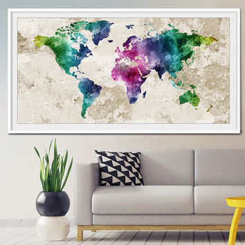 World map wall art, World map poster, world map art, world map painting, world map watercolor Art Print, Decor Print Poster Painting (L10)