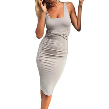 office dress Ladies Sexy Dresses Summer Solid Sleeveless Tight Bodycon Dresses Women Party Dress Robe Femme Clubwear GV575