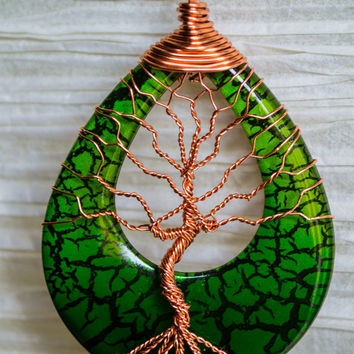 Tree of Life silver colored copper wire wrapped plastic slice with green crackle effect