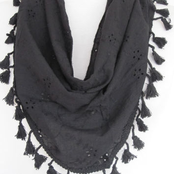 Triangle Tasselled Black Embroidered Cotton Elegance Scarf, Gift
