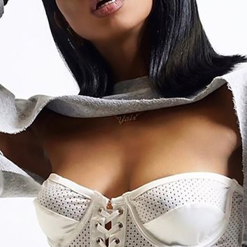 Lush Temptation White Sheer Mesh Strapless Bustier Lace Up Ruffle Corset Crop Top