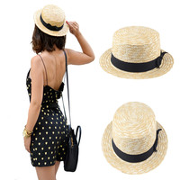 Women Lady Boater Summer Sun hat  Beach Ribbon Round Flat Top Beige Straw Fedora Panama Hat Good Package 20