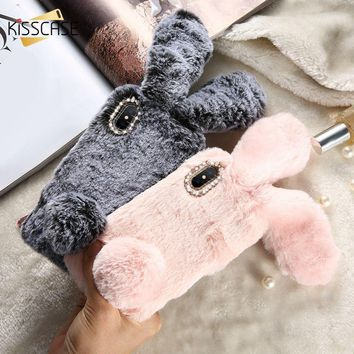 KISSCASE Rabbit Fluffy Fur Phone Case For iPhone XS Max 6 6S 7 8 Plus X Cute Phone Cover For iPhone XS Max XR 5 5S SE Cases Capa