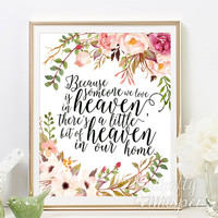 Printable Sympathy gift, Because someone we love is in heaven, Memorial Gift Sign, Remembrance Gift, Condolence Sign printable gift