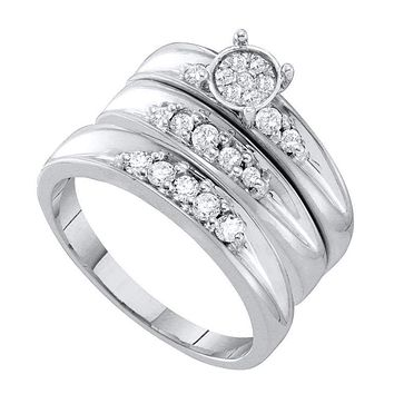 10kt White Gold His & Hers Round Diamond Cluster Matching Bridal Wedding Ring Band Set 3/8 Cttw - FREE Shipping (US/CAN)