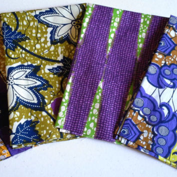 FAT QUARTER BUNDLE--African Wax Print--Purple Two 4-pack bundle