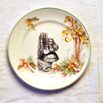 Alice in Wonderland, Mad Hatter's Tea Party Vintage China Plate Set for Wall Art