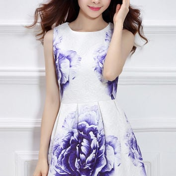 White Blue Rose Print Sleeveless A-Line Mini Dress