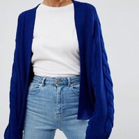 ASOS Chunky Cardigan In Oversize and Cable at asos.com