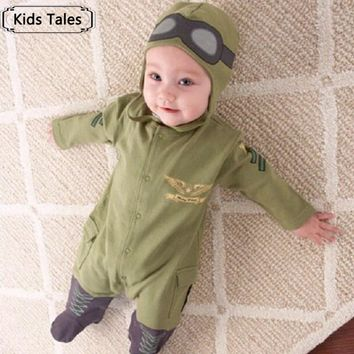 2017 New suit boy sliders newborn baby clothes baby boy clothes children pilot sliders infant long-sleeved jumpsuit+hat SR004