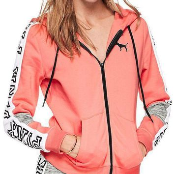 Victoria's Secret Pink Fashion Zipper Hooded Long Sleeved Sweater Stitching And Female Pink G