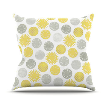 "Heidi Jennings ""Sunspot"" Yellow Spots Outdoor Throw Pillow"