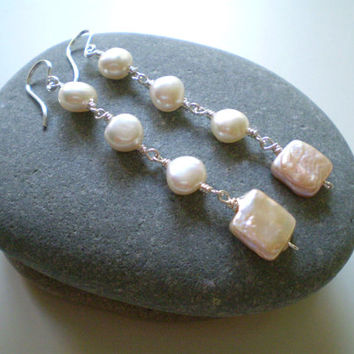 White Freshwater & Pink Square Coin Pearl Earrings, Bridal, OOAK, Dangle Earrings, Pearl Earrings, Stocking Stuffers