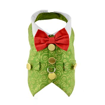 Green & Gold Swirl Christmas Holiday Dog Harness Vest - CLOSEOUT!
