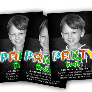Boys Birthday Invite - Party Time Neon Photo Invitations - Birthday Party Invitation - Boy Invitation - 1st Birthday Invite - Kids - Teen