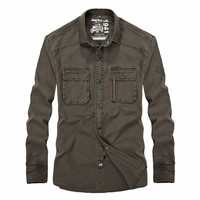 Jeep Rich Mens Large Size Long Sleeved Turn Down Collar Cotton Casual Shirts