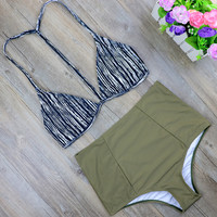 2017 High Waist Bikinis Women Swimwear Plus Size Swimuit Female Retro Beachewear Bikini Set Bathing Suit Swim Wear Biquini 2485