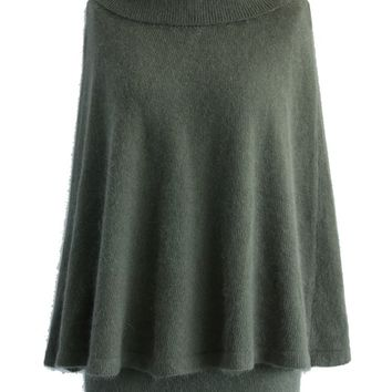 Angora Cape and Skirt Set in Olive