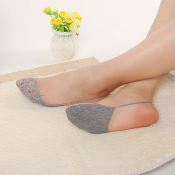 2 Pairs 2018 Summer Style thin Socks Sexy Cotton Half feet Antiskid Invisible Liner No Show Low Cut Sling Sock