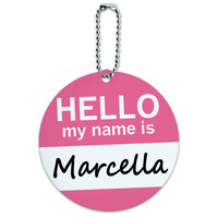 Marcella Hello My Name Is Round ID Card Luggage Tag