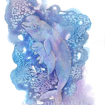 Beluga Whale Watercolor Print- 8x10 - Original Painting - baby nursery wall art - blue and purple - ocean nautical theme - baby shower gift
