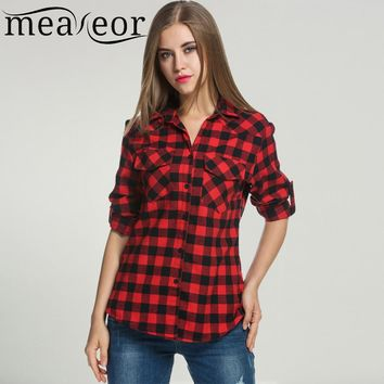 Meaneor Women's Roll Up Sleeve Casual Loose Boyfriend Plaid Button Down Blouse Shirt Summer Spring 2018 New Ladies Femme Shirts