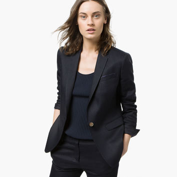 NAVY BLUE LINEN SUIT JACKET - View all - Blazers - WOMEN - España (Excepto Canarias)/Spain (except the Canary Islands)