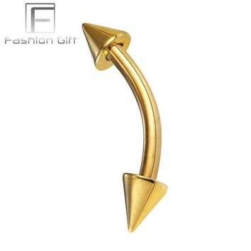 ac DCCKO2Q Gold Color Curved Barbell with Cone Eyebrow, Ear Piercing G23 Titanium Barbell Plated Color Under Vacuum