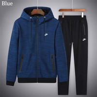 NIKE 2018 autumn and winter new casual sports suit plus velvet thick two-piece blue