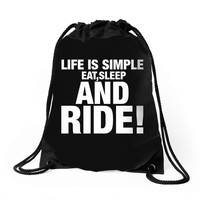 Eat Sleep Ride Drawstring Bags