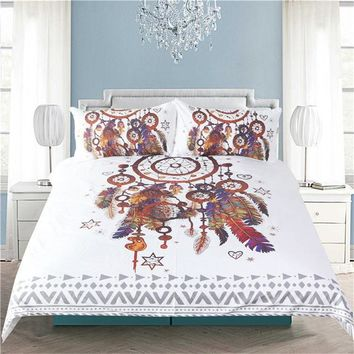 Hipster Watercolor Bedding Set Queen Size Dreamcatcher Feathers Duvet Cover Bohemian Printed Bed Cover 3 Pcs
