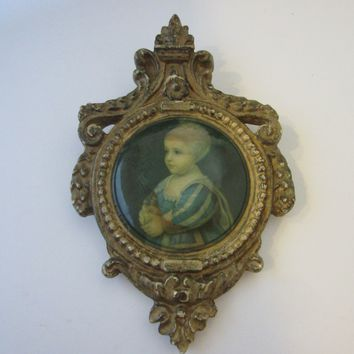 Rococo Style Child Portrait Holding Apple In Crested Icon Gilt Ware Plaster Frame