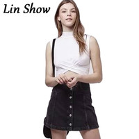 Women Skirt Button 2016 Summer Style Black Street Female Mini Skirt Fashion Casual Solid Jeans A Line