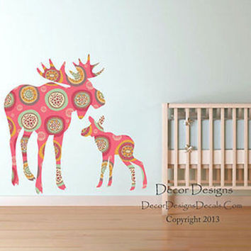 Moose and Baby Retro Pink Patterned Printed Fabric Repositionable Wall Decal