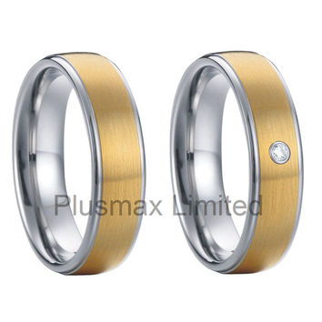 custom initial rings two tone gold plated handmade promise rings tungsten carbide wedding rings anillos de boda de tungsteno