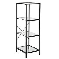 Black 4-Tier Glass Shelf