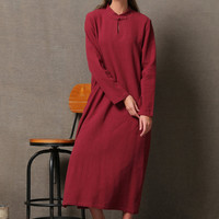 Red Comfortable Linen Dress maxi dress C602