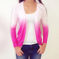 Pink Ombre Studded Knit Sweater Dip Dye Cardigan