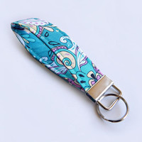 Floral Key Fob / Flower Keychain / Pretty Key Chain / Wrist Lanyard / Wristlet / Keychain Lanyard / Turquoise Floral / Teal / Flowers