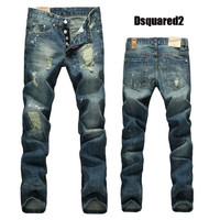 Slim Ripped Holes Denim Men Pants Jeans [6528366403]