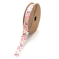 Butterfly Flowers Printed Cotton Fabric Ribbon, 5/8-inch, 10-yard, Pink