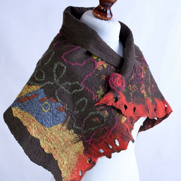 Short brown nuno felt scarf or scarflette - natural wool and silk scarf in autumn colors - felted fashion scarf [S161]