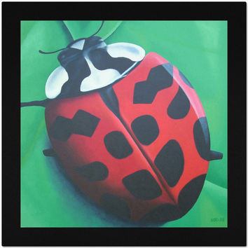 Lunching Lady . . . Bug - Placemat of Ladybug Acrylic Paint Fine Art