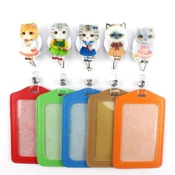 2017 New lovely Miss Cat Cartoon Retractable Badge Reel Student Nurse worker ID Name Card vertical style Badge Office Supplies