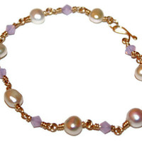 GOLD DELICACIES BRACELET / wire-wrapped bracelet ft. opal lilac swarovski crystals, freshwater pearls, handmade clasp & 14 k gold wire