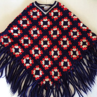 Hippie Boho Poncho Italy - Amazing Granny Square Cape Made in Italy - All Wool - Red White & Blue!! -