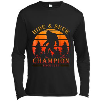 Hide And Seek World Champion Funny Bigfoot Is Real  Long Sleeve Moisture Absorbing Shirt